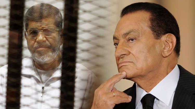 لأول مرة الرئيس الأسبق حسني مبارك في مواجهة مع الرئيس المعزول محمد مرسي