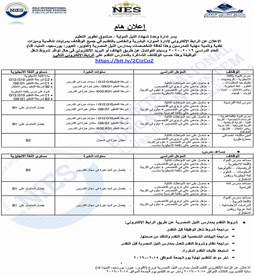إعلان وظائف مدارس النيل الدولية الحكومية.. مدرسين ومدرسات في مختلف التخصصات 1