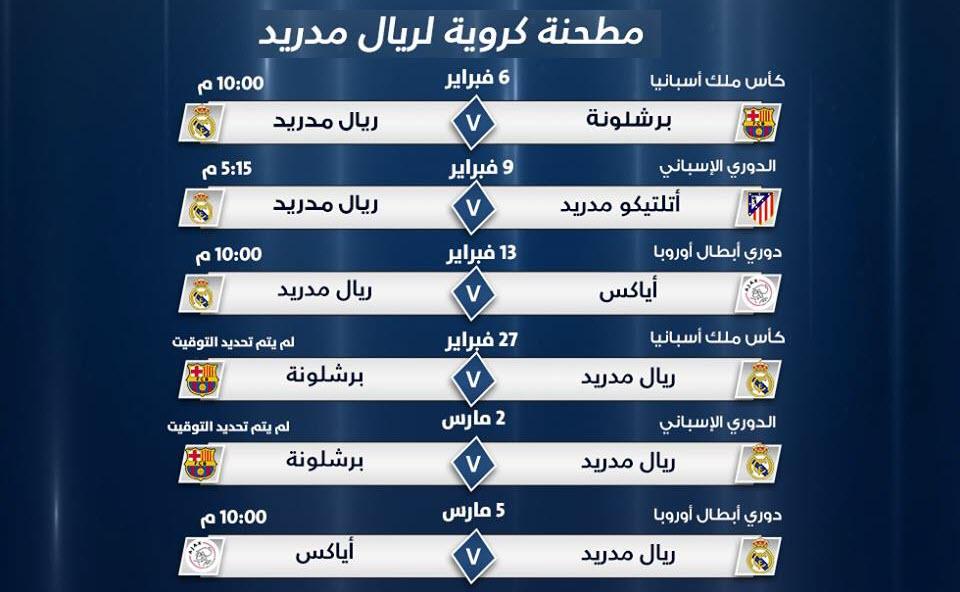مواجهات نارية فى انتظار فريق ريال مدريد خلال هذا الشهر