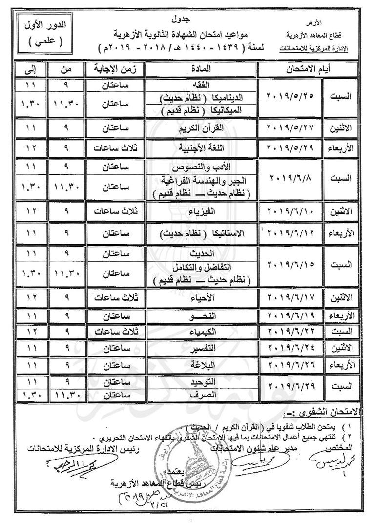 جدول امتحانات الأزهر 2