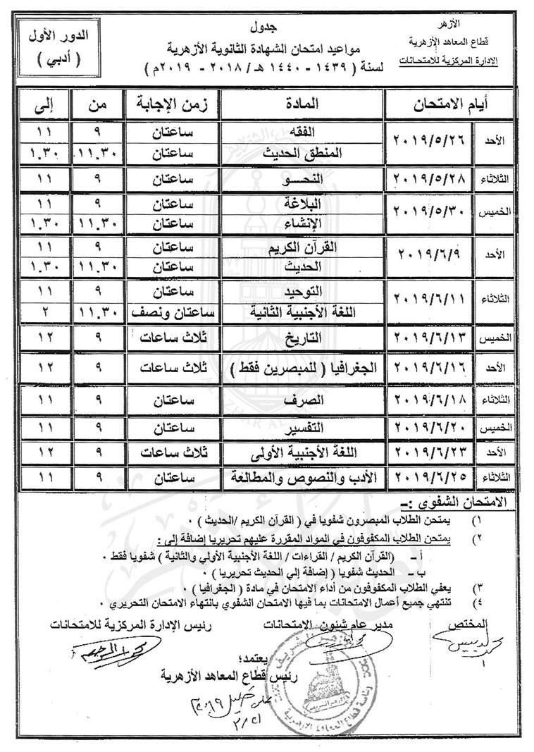 جدول امتحانات الأزهر1