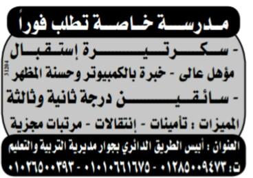 إعلانات وظائف جريدة الوسيط اليوم الجمعة 15/3/2019 9