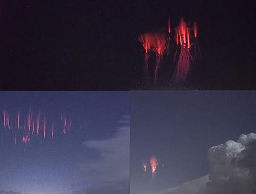 بالصور| بقع حمراء مضيئة تظهر في السماء باللون الأحمر وتختفي فجأة