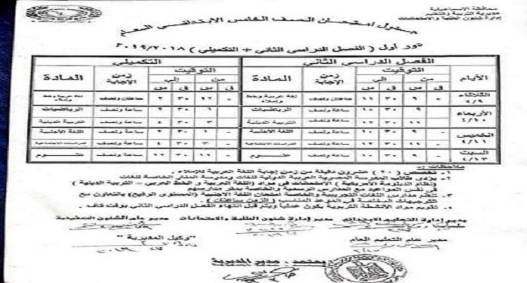 رسمياً.. مواعيد وجداول امتحانات آخر العام «ابتدائي – إعدادي – ثانوي» لكل المحافظات والمحذوف من المناهج