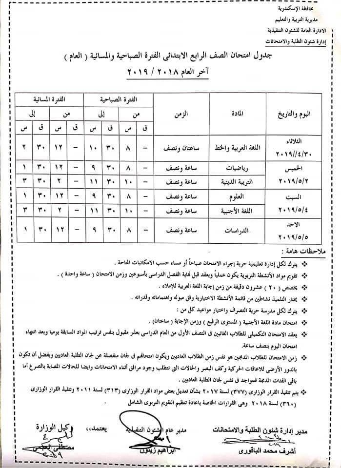 التعليم 2019_ جداول امتحانات العام