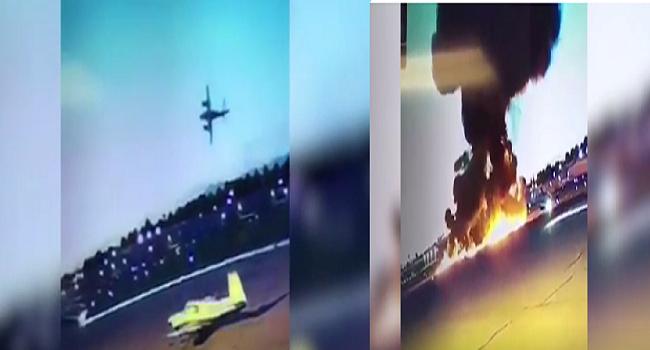 شاهد  النشطاء يتداولون لحظة سقوط طائرة وتحطمها فور إقلاعها