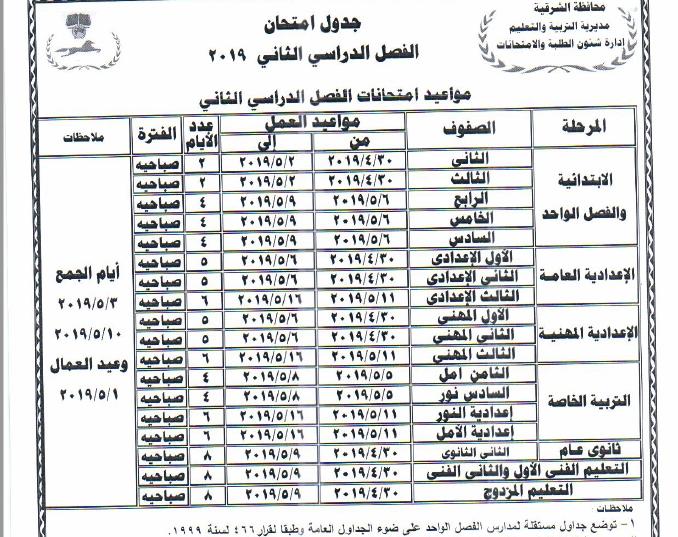 جداول امتحانات أخر العام محافظة الشرقية 2019 1