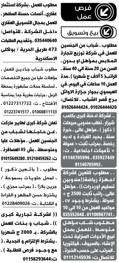 وظائف جريدة الوسيط الاسكندرية اخر عدد pdf اليوم 15/4/2019 17