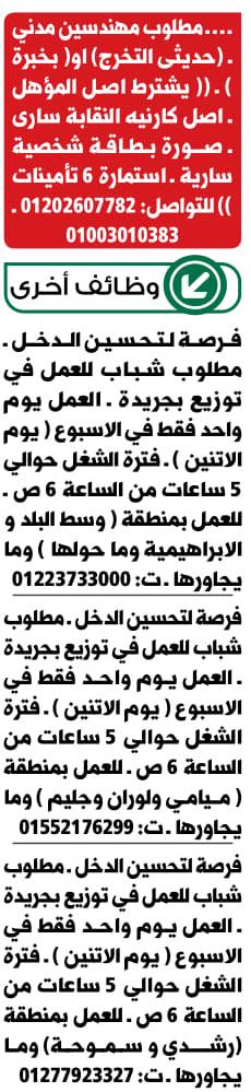 وظائف جريدة الوسيط الاسكندرية اخر عدد pdf اليوم 15/4/2019 2