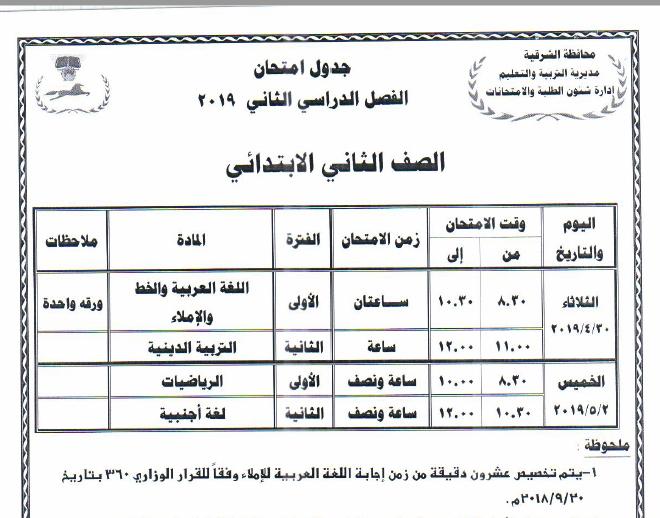 جدول مواعيد امتحانات الفصل الدراسي الثاني 2019 لمحافظة الشرقية 1