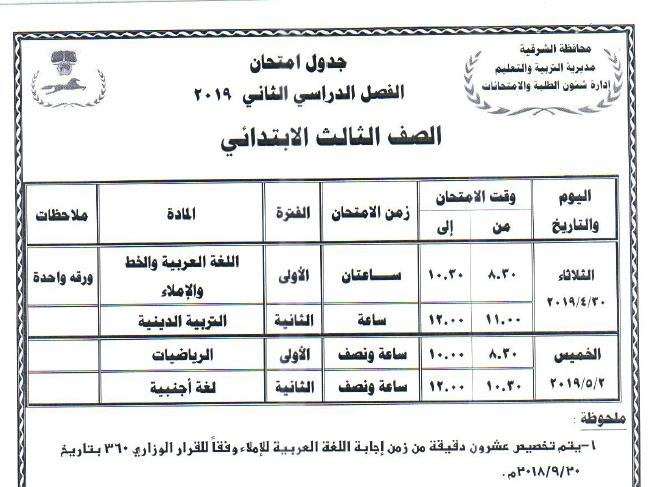 جدول مواعيد امتحانات الفصل الدراسي الثاني 2019 لمحافظة الشرقية 2