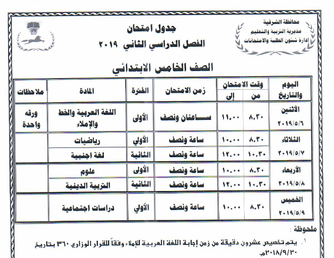 جدول مواعيد امتحانات الفصل الدراسي الثاني 2019 لمحافظة الشرقية 4