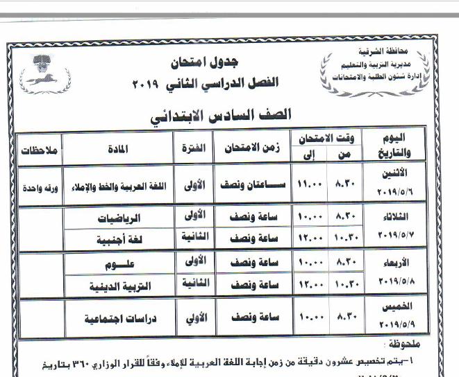 جدول مواعيد امتحانات الفصل الدراسي الثاني 2019 لمحافظة الشرقية