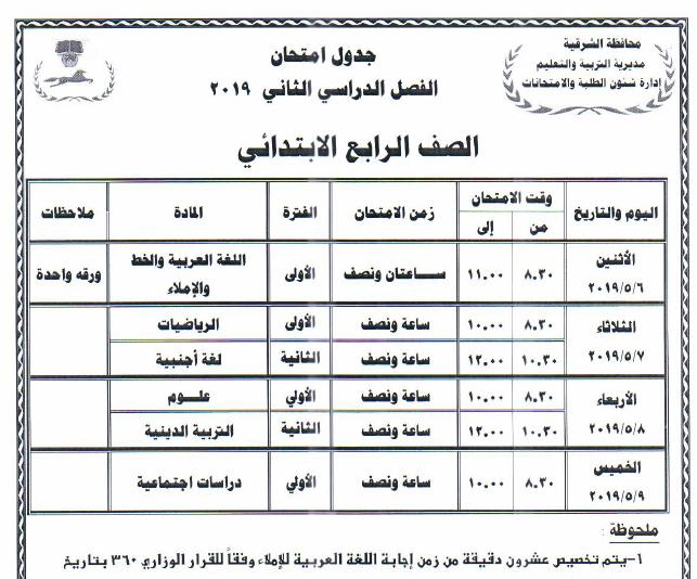 جداول امتحانات أخر العام محافظة الشرقية 2019 4