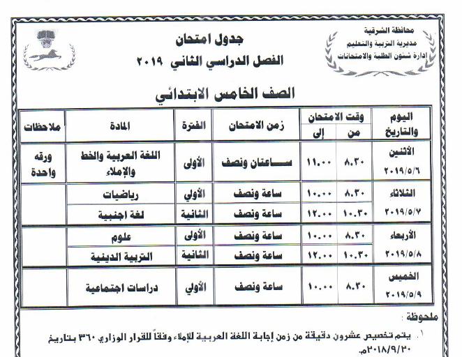 جداول امتحانات أخر العام محافظة الشرقية 2019 5