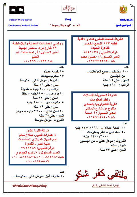 وزارة القوى العاملة تعلن عن 13000 وظيفة شاغرة للمؤهلات العليا والمتوسطة والفنيين والعمال والسائقين 3