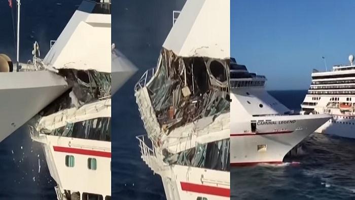 """بالفيديو """"لحظات مرعبة"""" اللحظات الأولى لتصادم سفينتين عملاقتين في عرض البحر ووقوع إصابات بين الركاب"""
