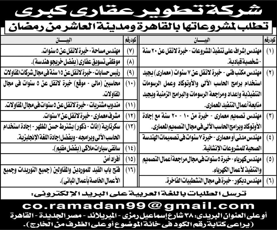 إعلانات وظائف جريدة الأهرام اليوم الجمعة 21/6/2019 11