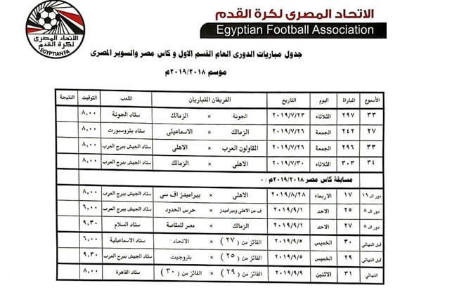 مواعيد المباريات المتبقية فى بطولتي الدوري العام وكأس مصر 2019