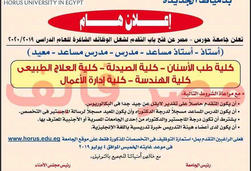 وظائف جامعة حورس بدمياط الجديدة