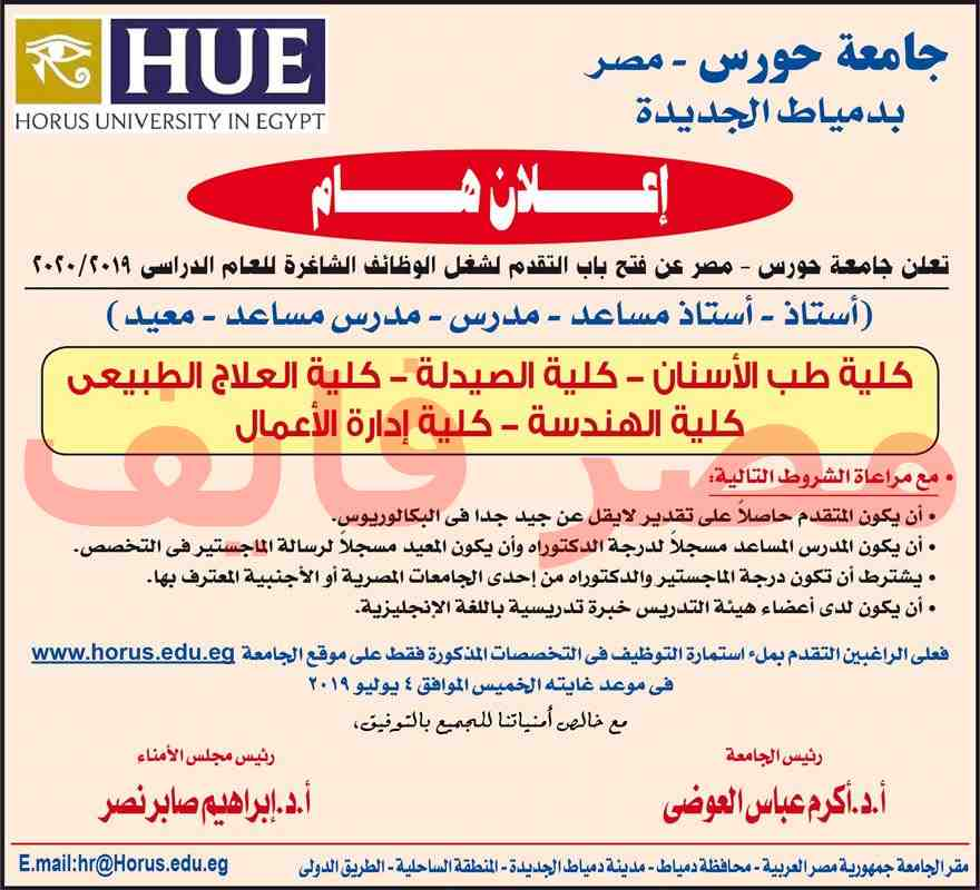 وظائف جامعة حورس