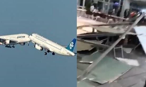 """عاجل """"بالفيديو"""" سقوط سقف صالة الحجاج بمطار جدة بعد ساعات من تصادم طائرتين بالسعودية في نفس المطار"""