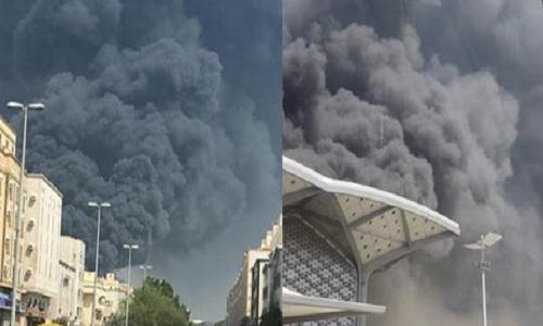 """عاجل """"بالفيديو"""" حريق ضخم في محطة قطار الحرمين بمكة وارتفاع ألسنة اللهب والدخان الأسود والدفع بطائرات للسيطرة على النيران"""