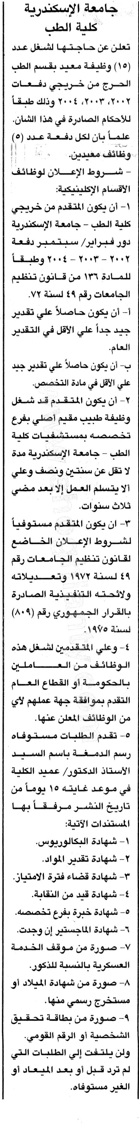 وظائف جامعة الاسكندرية 2019 1