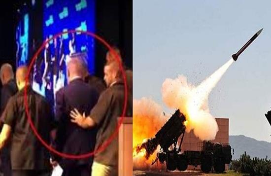 """""""بالفيديو"""" لحظة هروب نتنياهو واختباءه في الملاجئ بعد وابل من الصواريخ التي انطلقت من غزه منذ قليل وسقوط صاروخ بالقرب منه"""