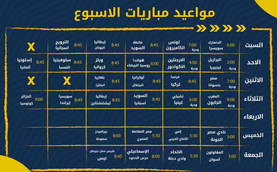 مواعيد مباريات الأسبوع الودية الدولية وفى الدوري المصري