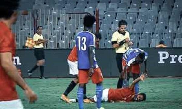 إصابة قوية لحسين الشحات في مباراة مصر وليبيريا وغيابه فى المباريات القادمة