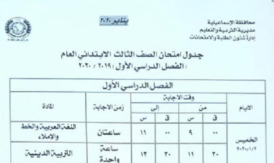 بالصور  جداول ومواعيد امتحانات نصف العام الدارسي الجاري 2019- 2020 الإسماعيلية