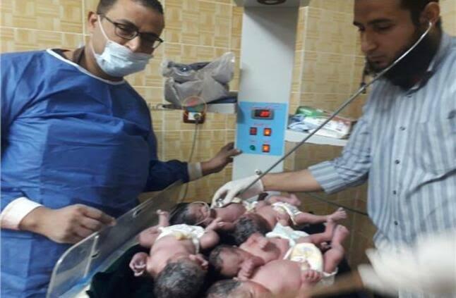 بالصور| فتاة 23 عاماً تلد 5 توائم «ولد و4 بنات» في مصر.. والطبيب يكشف السبب وحالة الأطفال الصحية