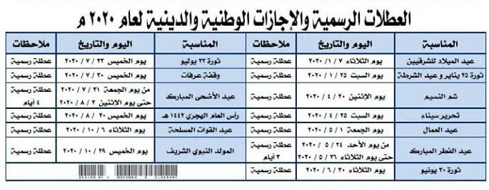 أيام الإجازات والعطلات الرسمية الوطنية والدينية عام 2020