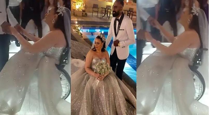 """بالفيديو والصور """"أجمل عروسة على كرسي متحرك"""" شاهد ماذا فعل عريس مصري مع عروسة المعاقة ليلة الدخلة"""