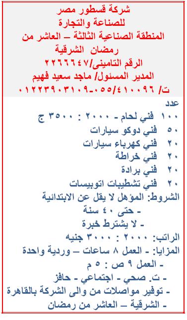 مطلوب فنيين للعمل فوراً بشركة قسطور مصر للصناعة والتجارة للمؤهلات متوسطة 1