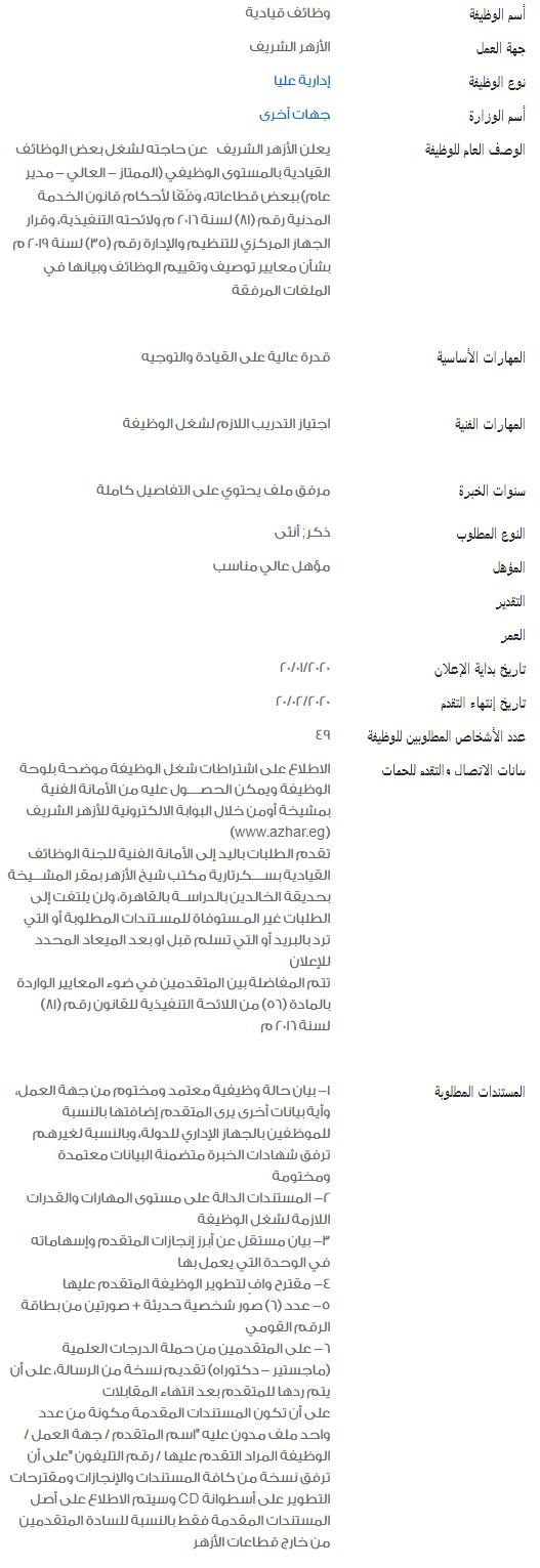 وظائف الحكومة المصرية لشهر فبراير 2020 2