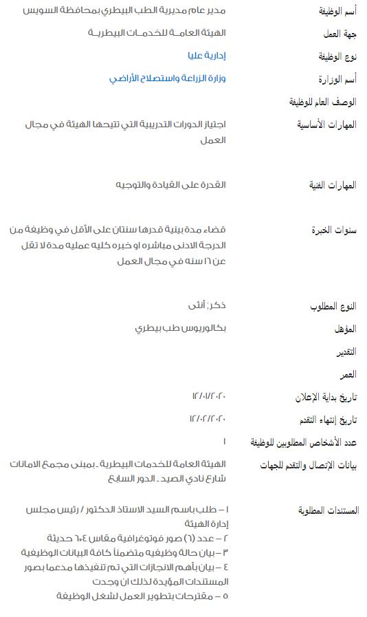 وظائف الحكومة المصرية لشهر فبراير 2020 1