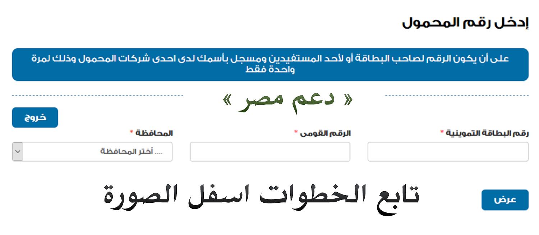 تسجيل رقم المحمول على موقع دعم مصر