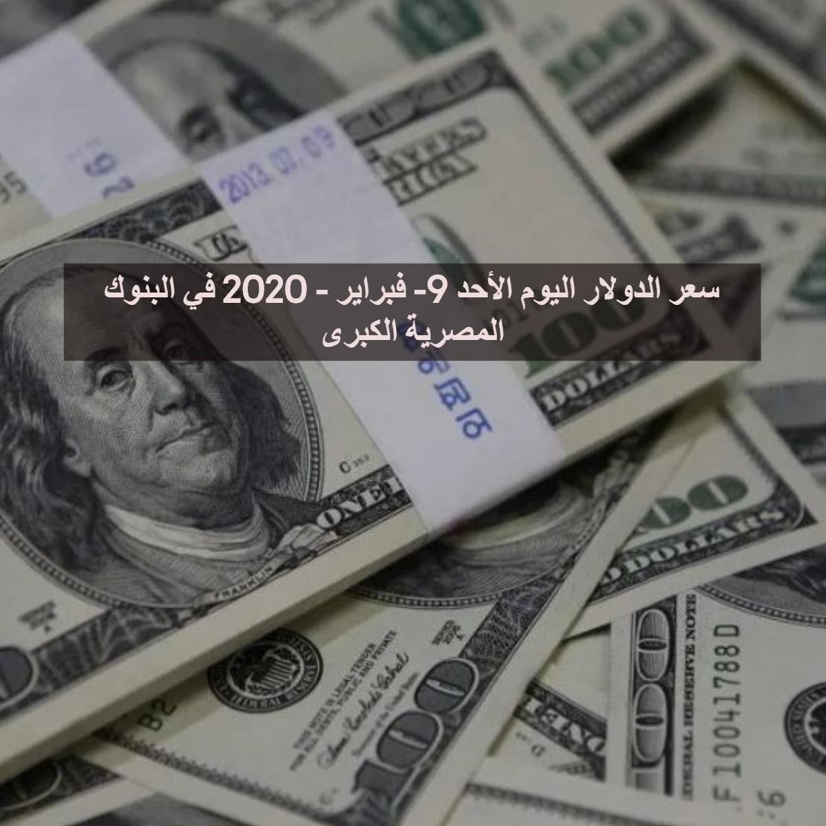 سعر الدولار اليوم الأحد 9- فبراير - 2020 في البنوك المصرية الكبرى
