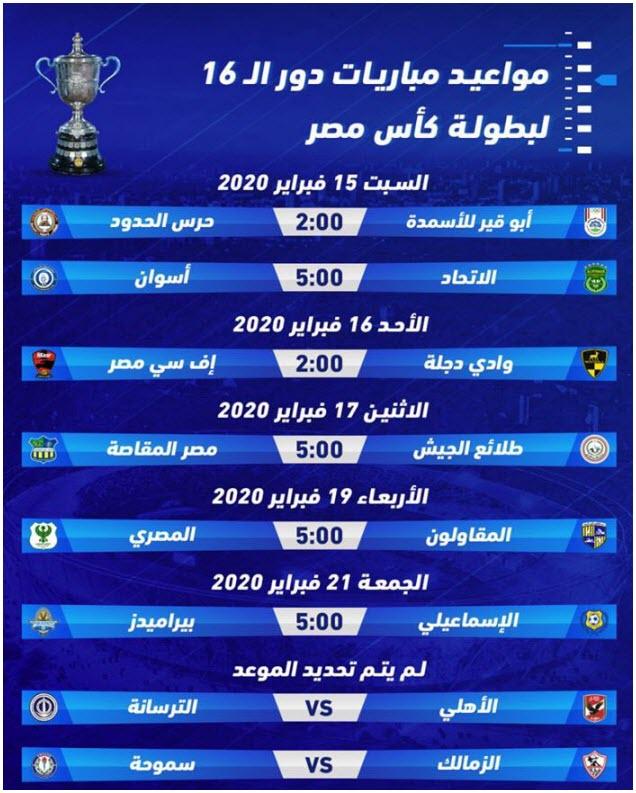 جدول مواعيد مباريات دور الستة عشر فى كأس مصر 2020