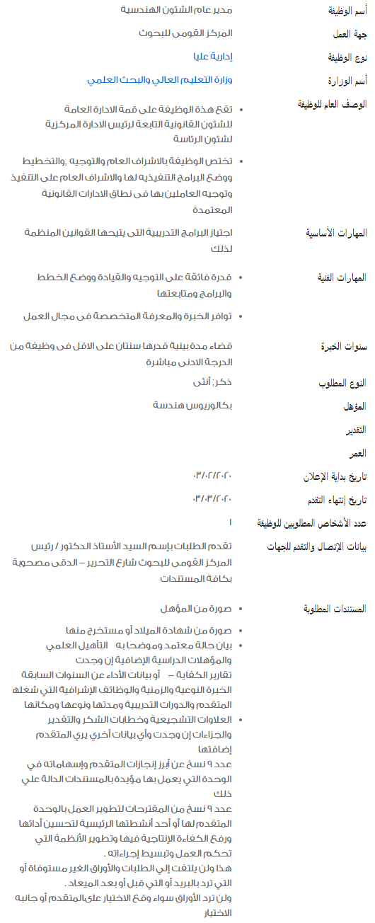 وظائف خالية في الحكومة المصرية لشهر فبراير 2020 6