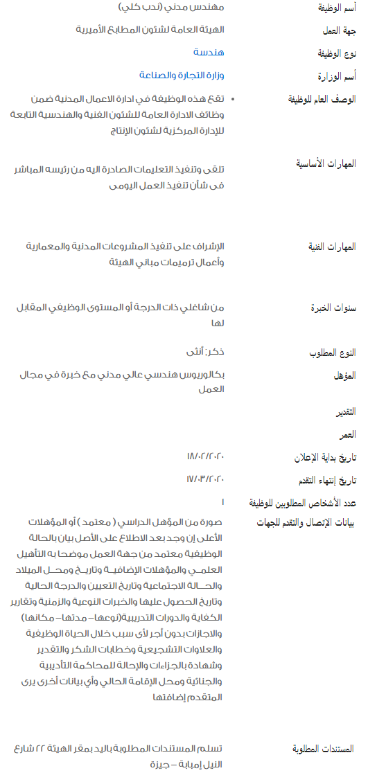 وظائف الحكومة المصرية لشهر فبراير 2020 6