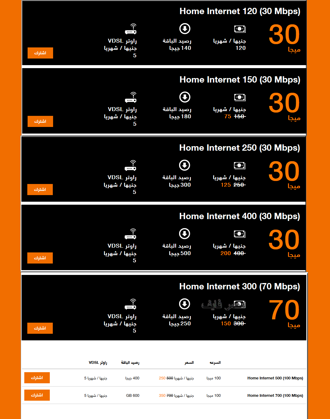 أسعار الإنترنت من أورانج