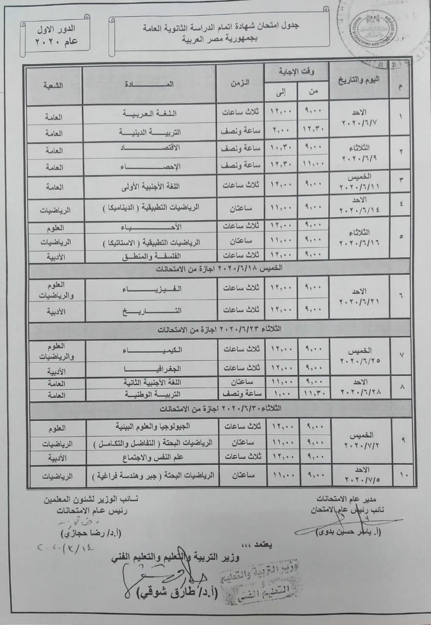 رسمياً: وزير التربية والتعليم يعتمد جدول امتحانات الثانوية العامة.. الامتحانات تبدأ 7 يونيو وتنتهى 5 يوليو 1