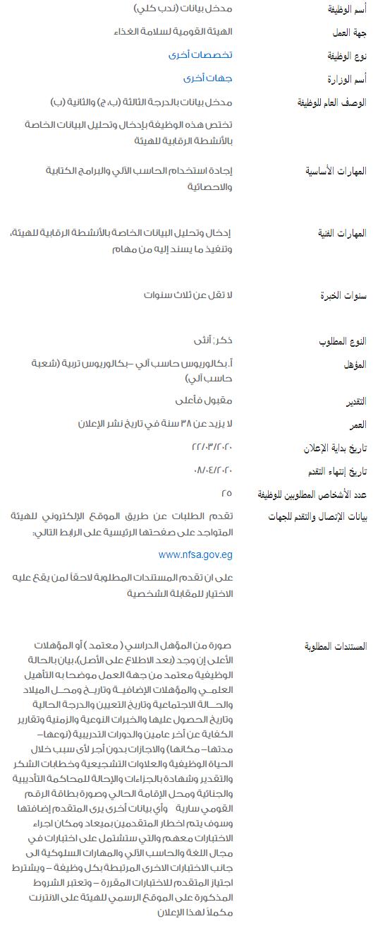 وظائف الحكومة المصرية لشهر مارس 2020 3