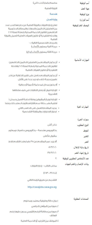 وظائف الحكومة المصرية لشهر مارس 2020 1