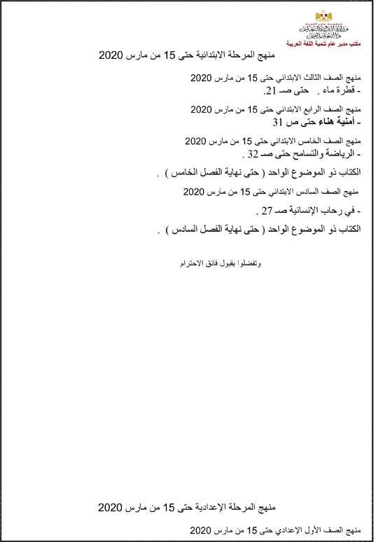 رسمياً بالصور| التعليم تُعلن عن المناهج المقررة حتى 15 مارس الجاري 2020 21