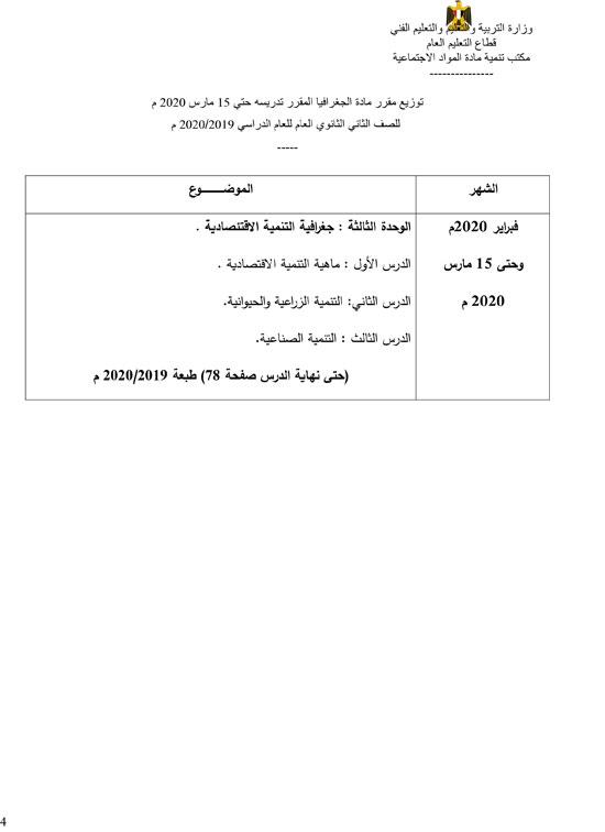 رسمياً بالصور| التعليم تُعلن عن المناهج المقررة حتى 15 مارس الجاري 2020 12