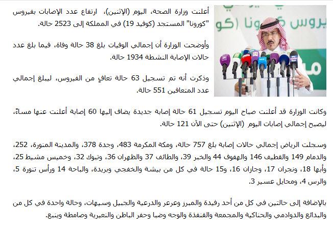 الصحة السعودية تعلن ارتفاع عدد الحالات المصابة بكورونا إلى 2523 والوفيات إلى 38 1